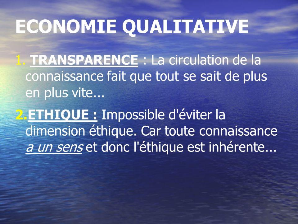 ECONOMIE QUALITATIVE 1. TRANSPARENCE : La circulation de la connaissance fait que tout se sait de plus en plus vite... 2.ETHIQUE : Impossible d'éviter