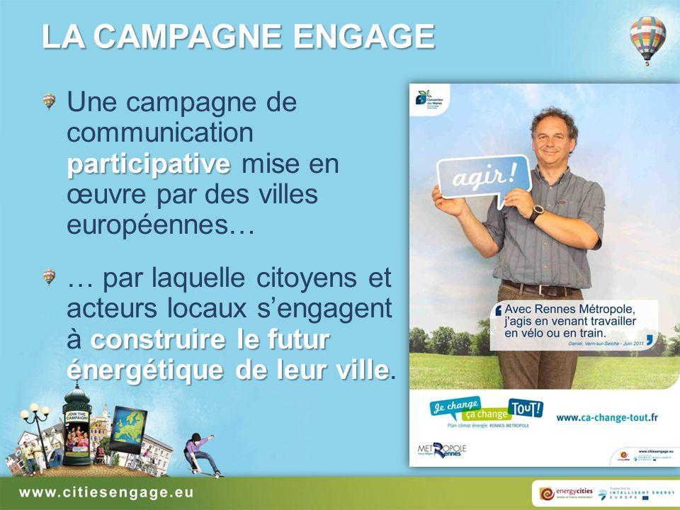 LA CAMPAGNE ENGAGE participative Une campagne de communication participative mise en œuvre par des villes européennes… construire le futur énergétique