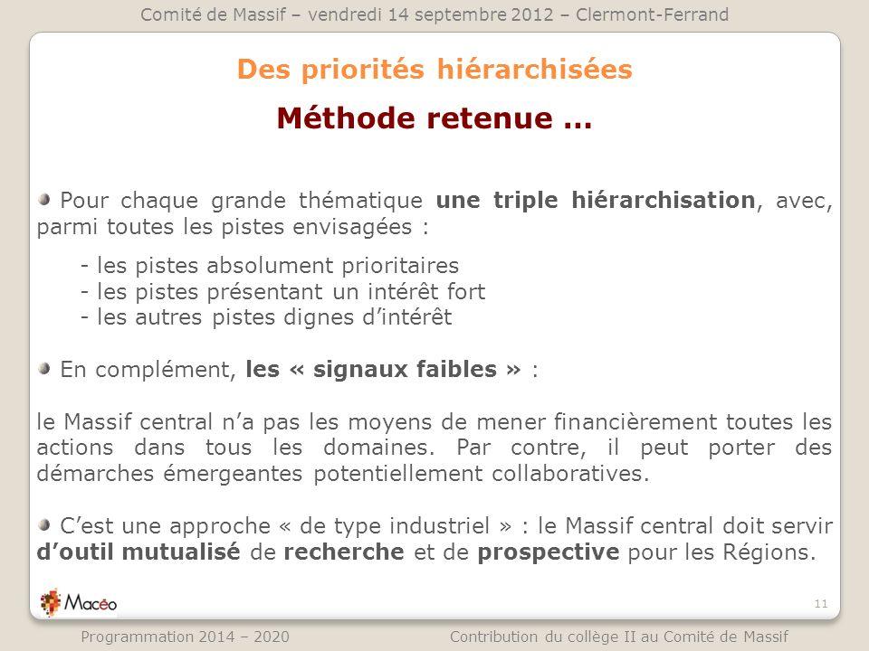 Des priorités hiérarchisées 11 Comité de Massif – vendredi 14 septembre 2012 – Clermont-Ferrand Programmation 2014 – 2020 Contribution du collège II a