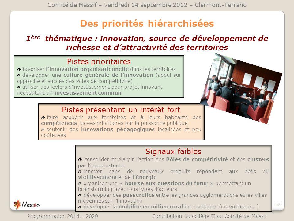 Des priorités hiérarchisées 12 Comité de Massif – vendredi 14 septembre 2012 – Clermont-Ferrand Programmation 2014 – 2020 Contribution du collège II a