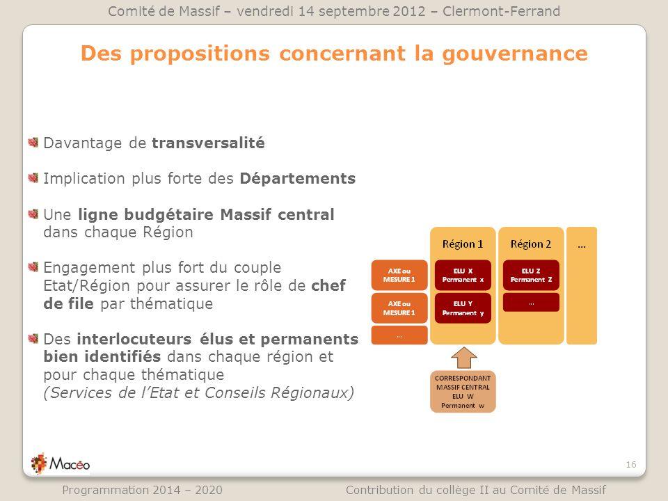 Des propositions concernant la gouvernance 16 Comité de Massif – vendredi 14 septembre 2012 – Clermont-Ferrand Programmation 2014 – 2020 Contribution