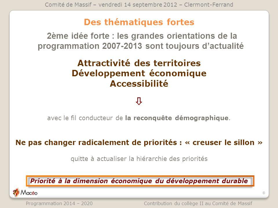 Des thématiques fortes 2ème idée forte : les grandes orientations de la programmation 2007-2013 sont toujours dactualité 8 Comité de Massif – vendredi