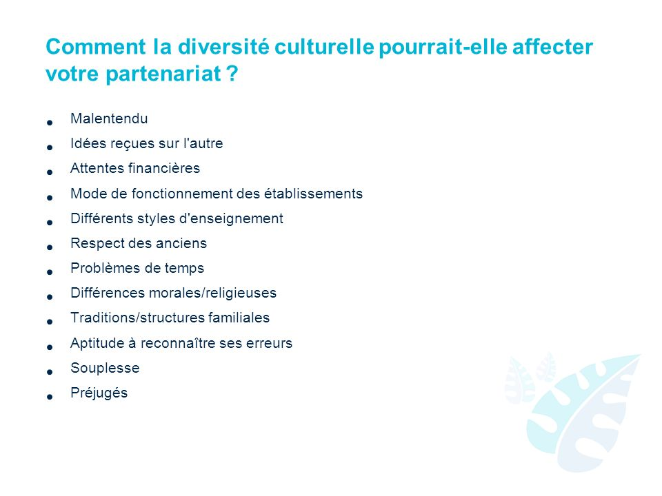 Comment la diversité culturelle pourrait-elle affecter votre partenariat ? Malentendu Idées reçues sur l'autre Attentes financières Mode de fonctionne