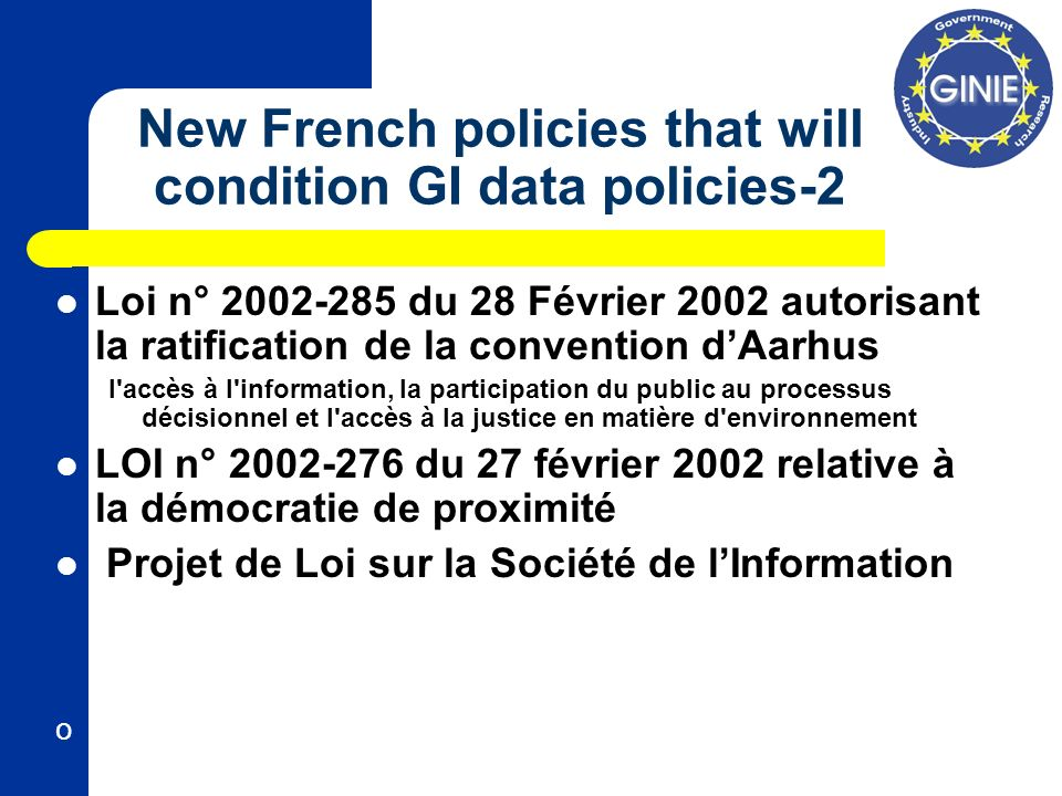 New French policies that will condition GI data policies-2 Loi n° 2002-285 du 28 Février 2002 autorisant la ratification de la convention dAarhus l'ac