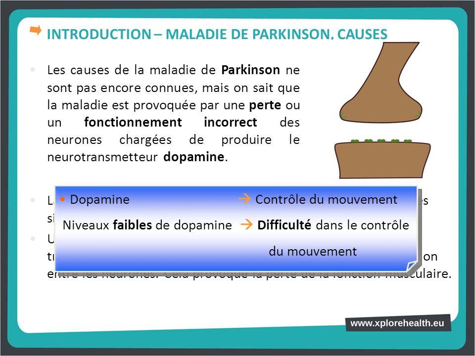 Les causes de la maladie de Parkinson ne sont pas encore connues, mais on sait que la maladie est provoquée par une perte ou un fonctionnement incorre