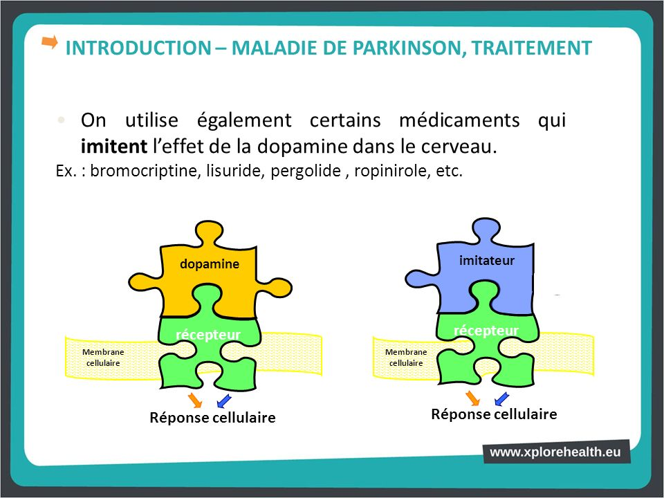On utilise également certains médicaments qui imitent leffet de la dopamine dans le cerveau. Ex. : bromocriptine, lisuride, pergolide, ropinirole, etc