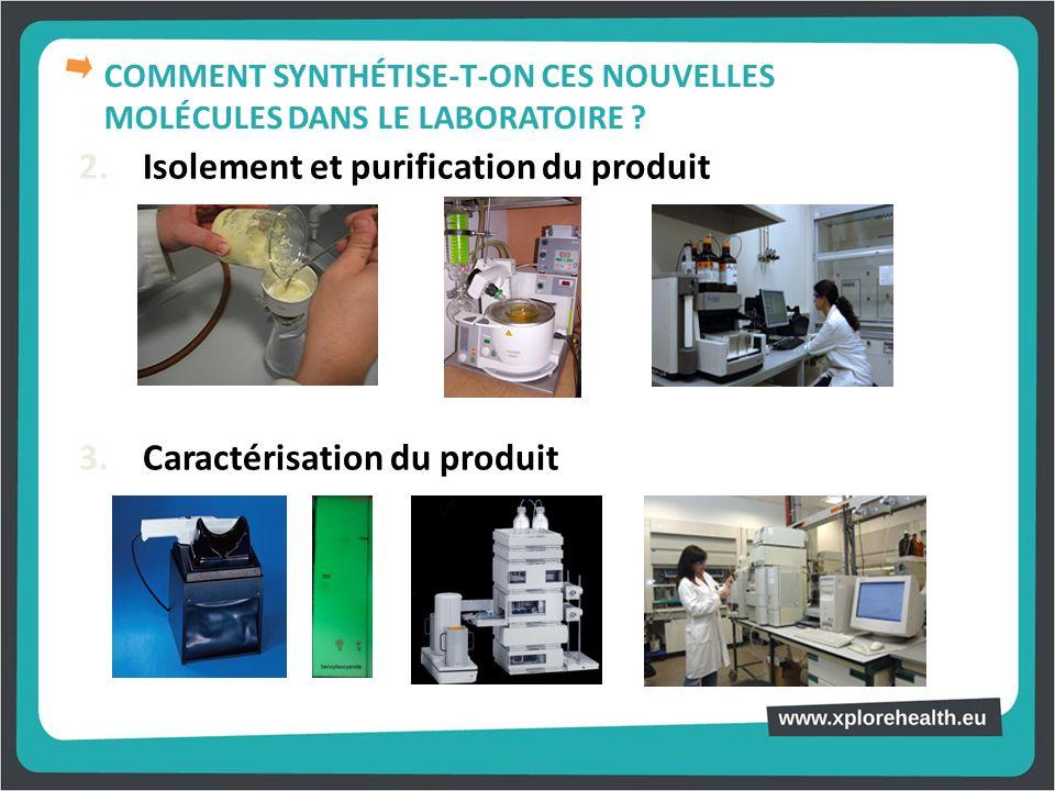 2. Isolement et purification du produit 3. Caractérisation du produit COMMENT SYNTHÉTISE-T-ON CES NOUVELLES MOLÉCULES DANS LE LABORATOIRE ?