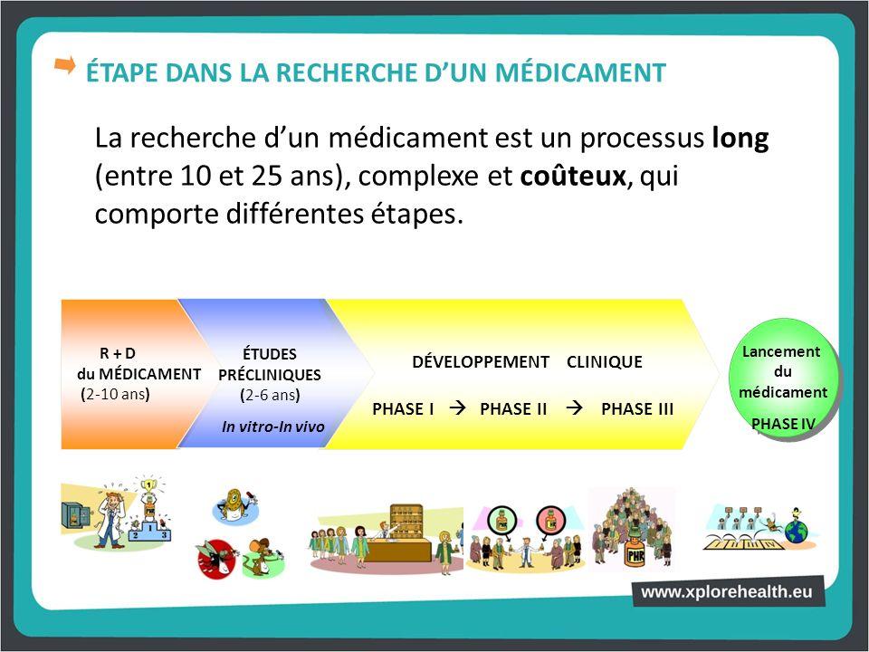 La recherche dun médicament est un processus long (entre 10 et 25 ans), complexe et coûteux, qui comporte différentes étapes. R + D du MÉDICAMENT (2-1