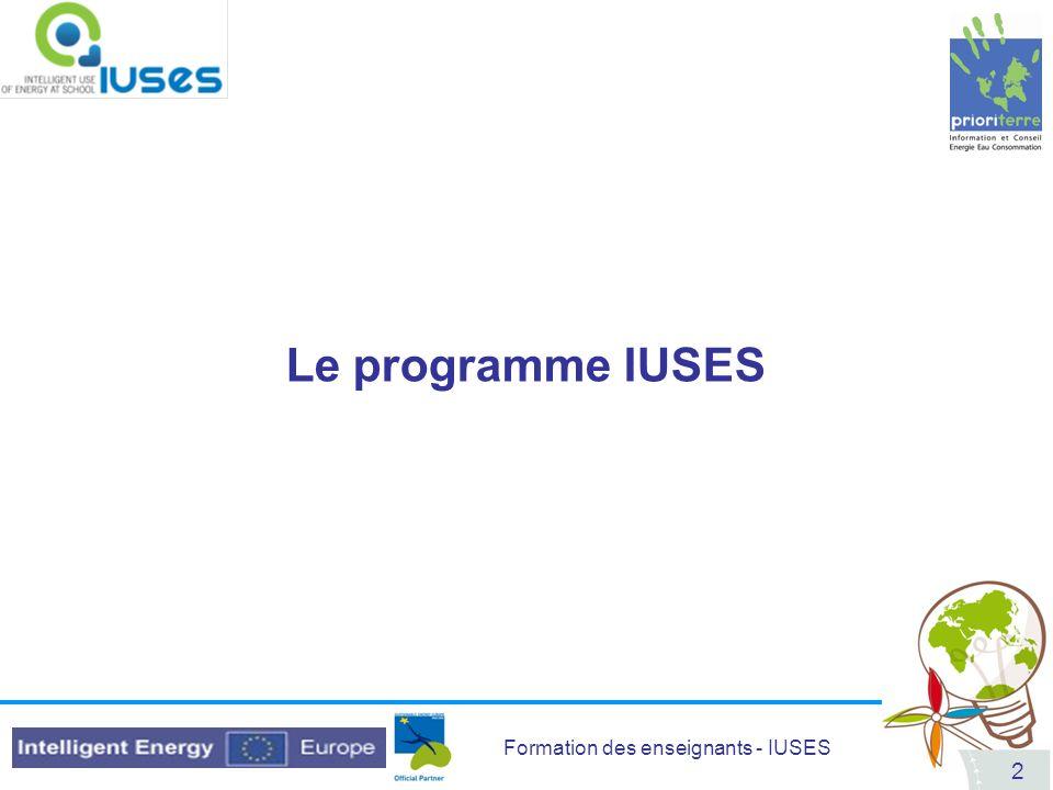 Formation des enseignants - IUSES 2 Le programme IUSES
