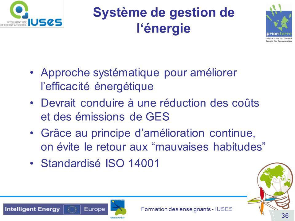 Formation des enseignants - IUSES 36 Système de gestion de lénergie Approche systématique pour améliorer lefficacité énergétique Devrait conduire à un