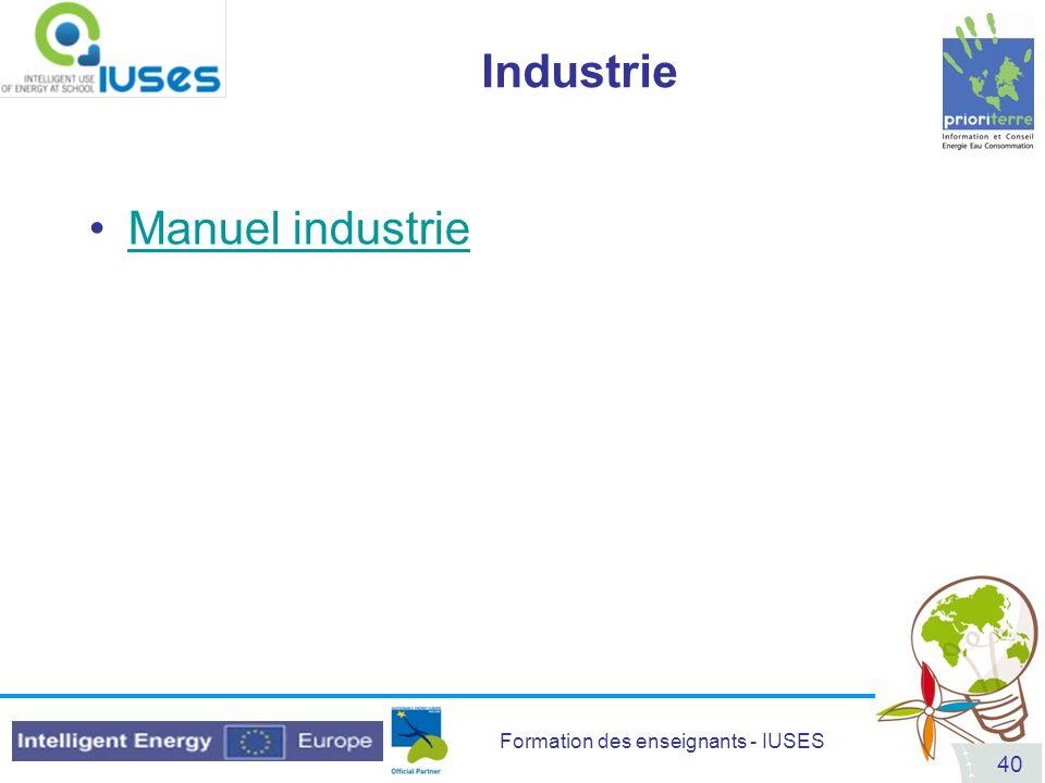 Formation des enseignants - IUSES 40 Industrie Manuel industrie