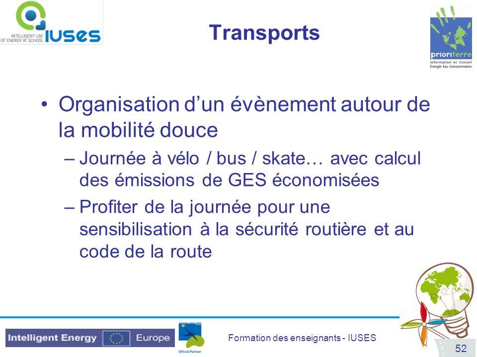 Formation des enseignants - IUSES 52 Transports Organisation dun évènement autour de la mobilité douce –Journée à vélo / bus / skate… avec calcul des