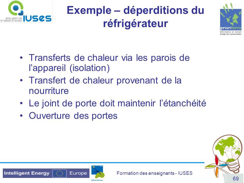 Formation des enseignants - IUSES 69 Exemple – déperditions du réfrigérateur Transferts de chaleur via les parois de lappareil (isolation) Transfert d