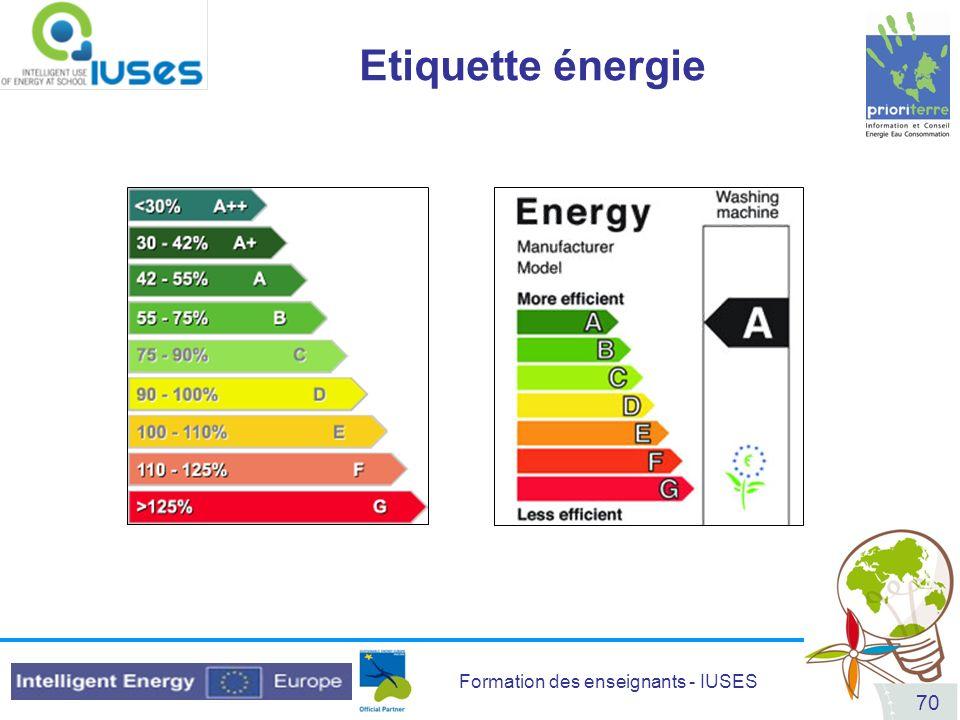 Formation des enseignants - IUSES 70 Etiquette énergie