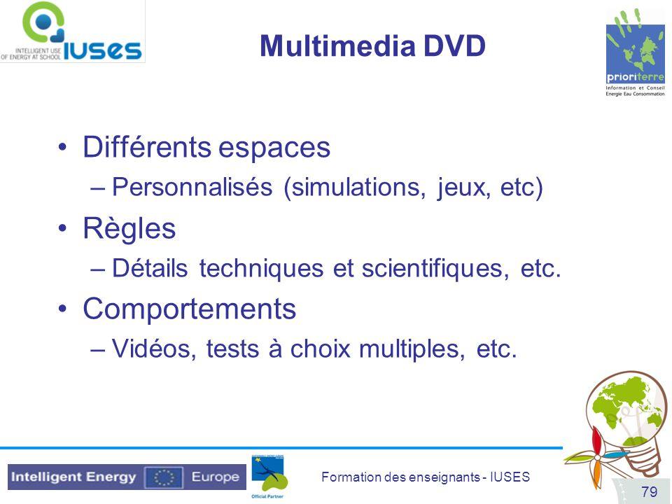 Formation des enseignants - IUSES 79 Multimedia DVD Différents espaces –Personnalisés (simulations, jeux, etc) Règles –Détails techniques et scientifi