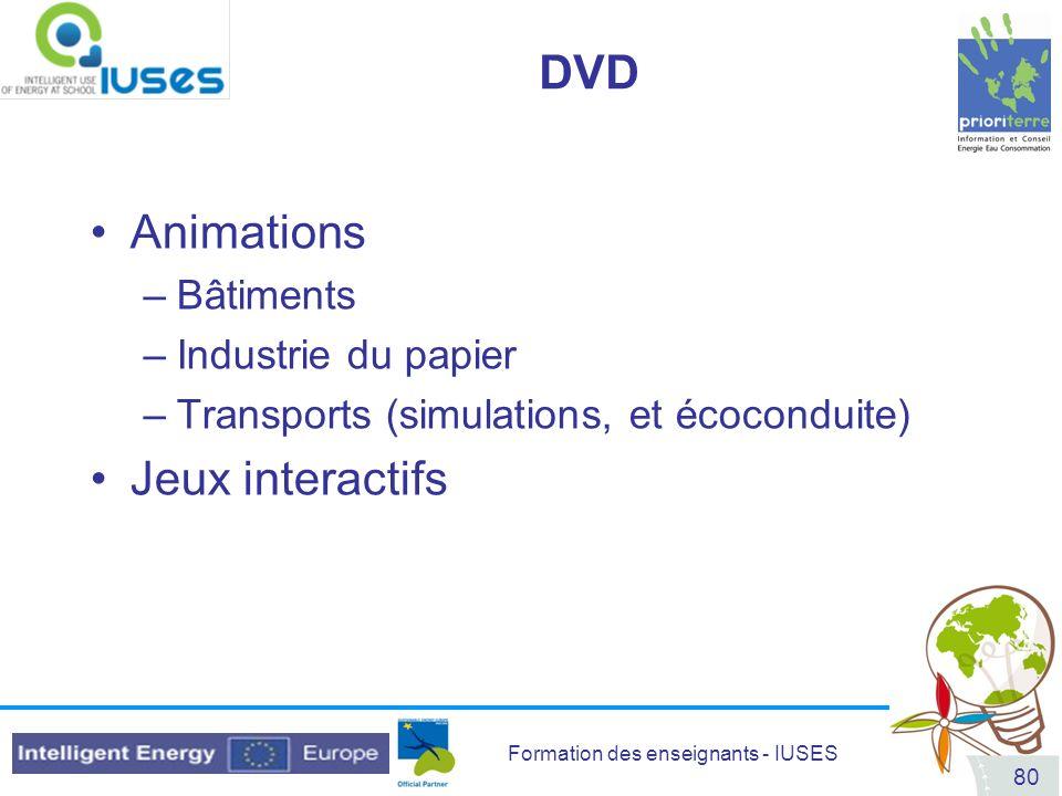 Formation des enseignants - IUSES 80 DVD Animations –Bâtiments –Industrie du papier –Transports (simulations, et écoconduite) Jeux interactifs