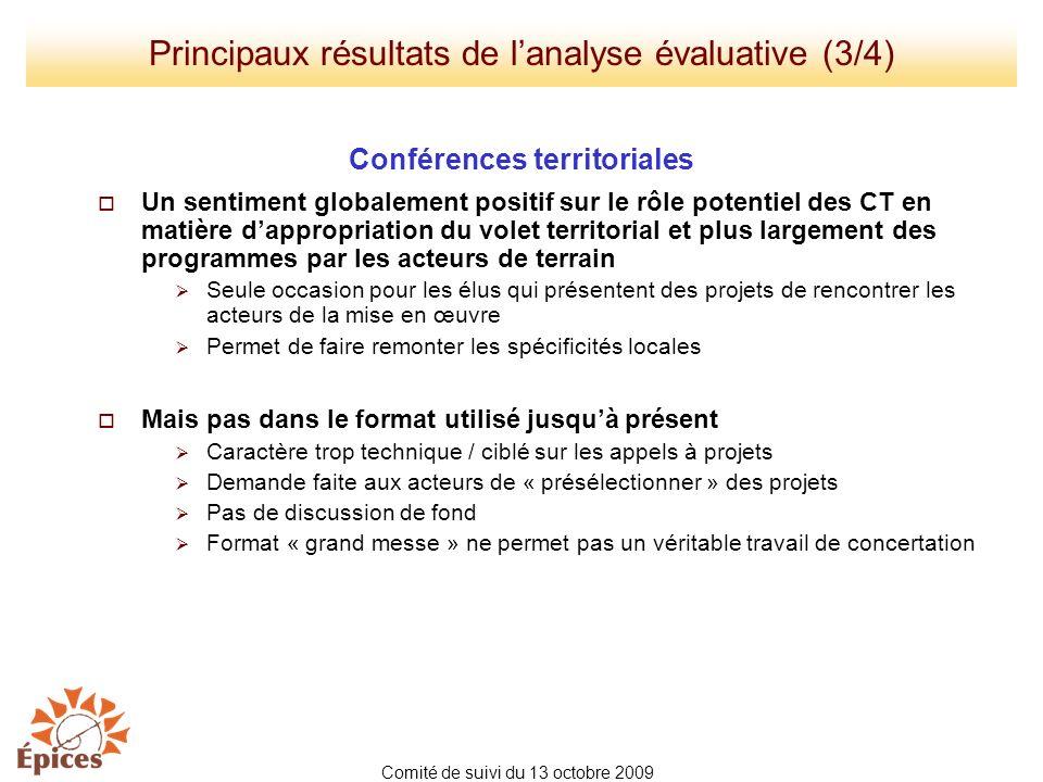 Conférences territoriales Un sentiment globalement positif sur le rôle potentiel des CT en matière dappropriation du volet territorial et plus largeme