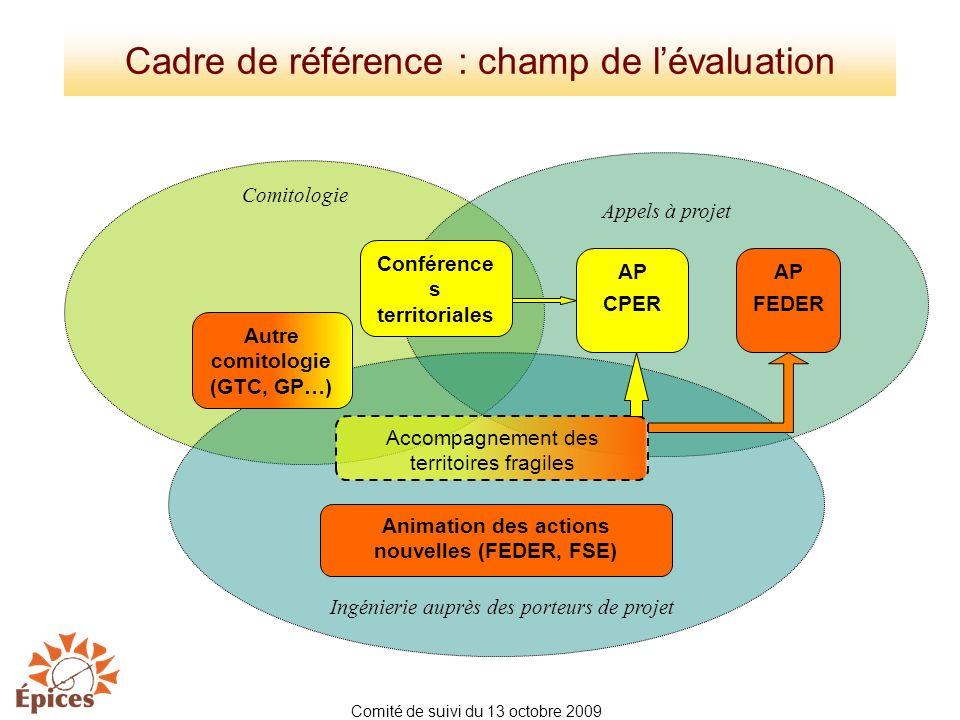 Cadre de référence : champ de lévaluation Conférence s territoriales Accompagnement des territoires fragiles AP CPER AP FEDER Animation des actions no