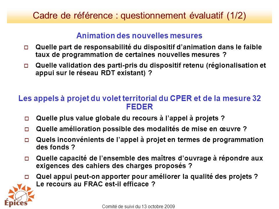 Cadre de référence : questionnement évaluatif (1/2) Animation des nouvelles mesures Quelle part de responsabilité du dispositif danimation dans le fai
