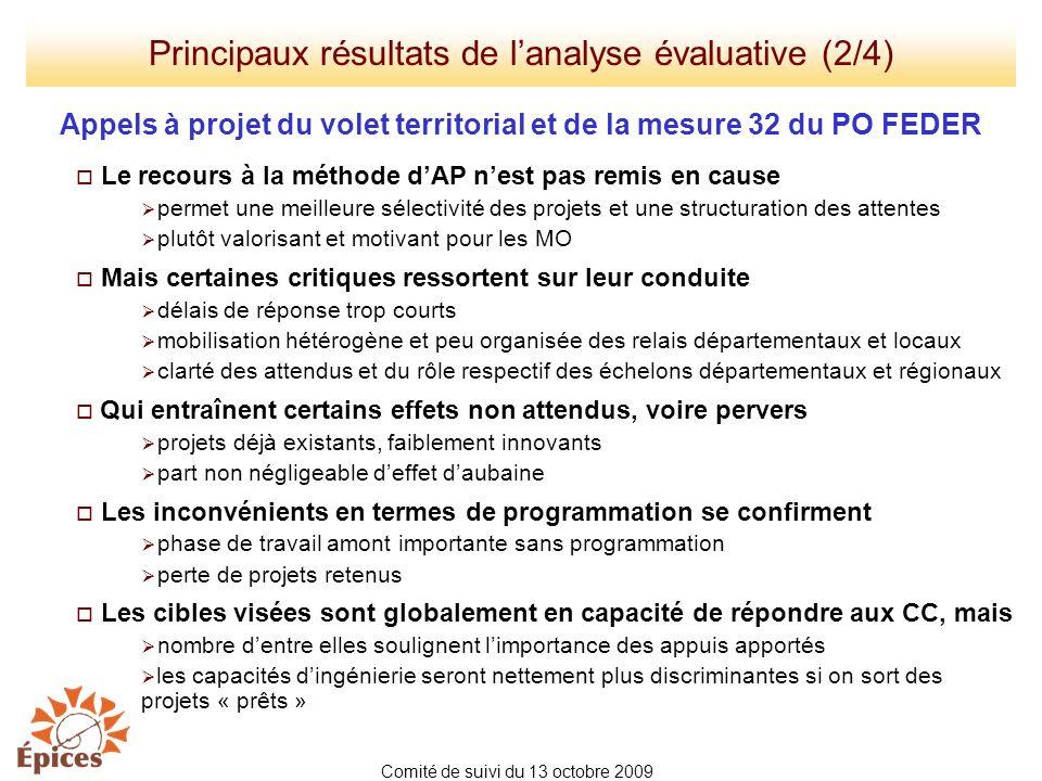 Principaux résultats de lanalyse évaluative (2/4) Appels à projet du volet territorial et de la mesure 32 du PO FEDER Le recours à la méthode dAP nest