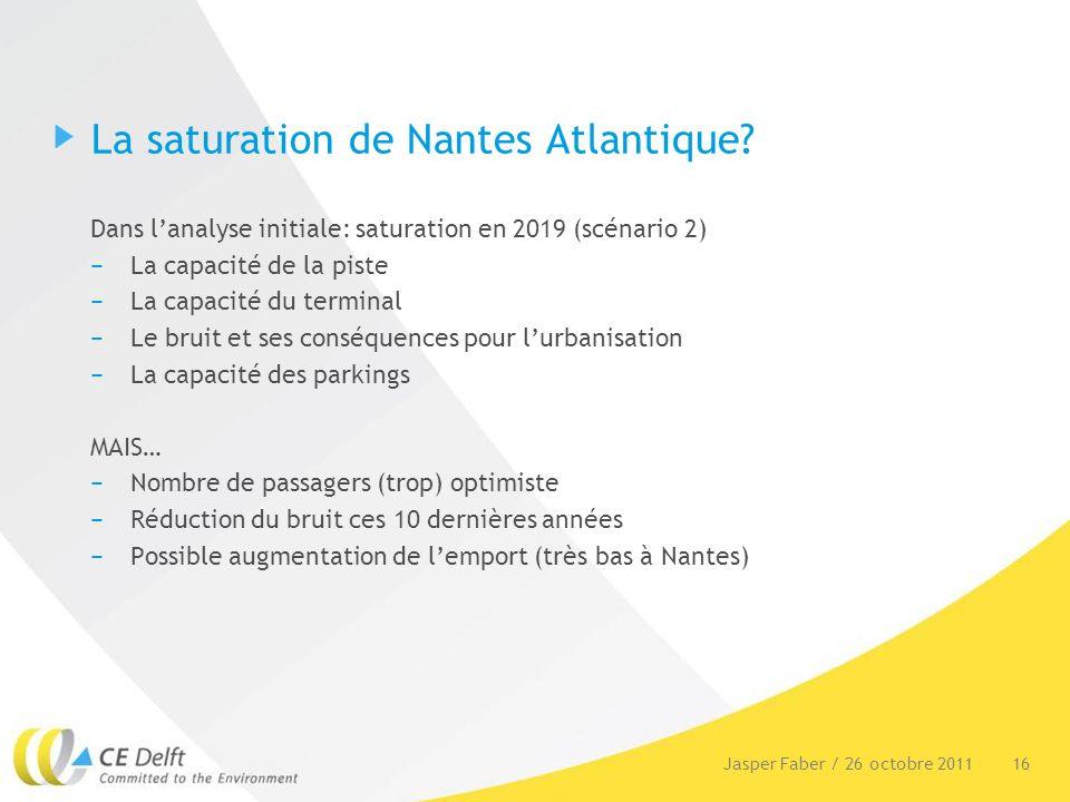 16Jasper Faber / 26 octobre 2011 La saturation de Nantes Atlantique? Dans lanalyse initiale: saturation en 2019 (scénario 2) La capacité de la piste L