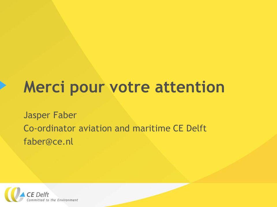 Merci pour votre attention Jasper Faber Co-ordinator aviation and maritime CE Delft faber@ce.nl