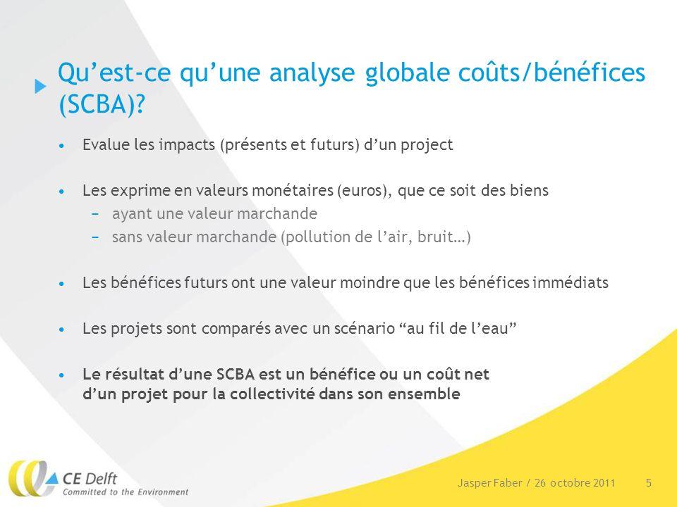 5Jasper Faber / 26 octobre 2011 Quest-ce quune analyse globale coûts/bénéfices (SCBA).