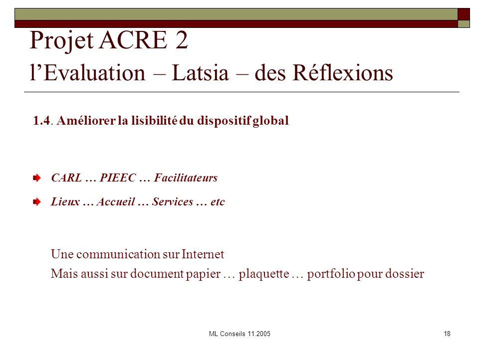 ML Conseils 11.200518 Projet ACRE 2 lEvaluation – Latsia – des Réflexions 1.4. Améliorer la lisibilité du dispositif global CARL … PIEEC … Facilitateu
