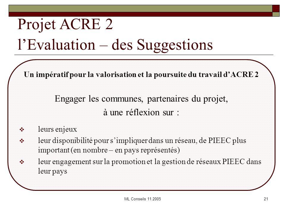 ML Conseils 11.200521 Projet ACRE 2 lEvaluation – des Suggestions Un impératif pour la valorisation et la poursuite du travail dACRE 2 Engager les com