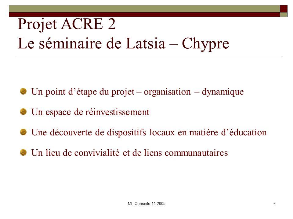 ML Conseils 11.20056 Projet ACRE 2 Le séminaire de Latsia – Chypre Un point détape du projet – organisation – dynamique Un espace de réinvestissement