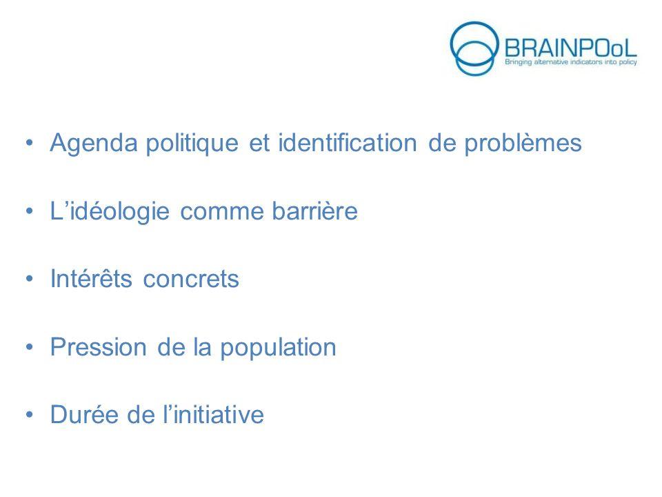 Agenda politique et identification de problèmes Lidéologie comme barrière Intérêts concrets Pression de la population Durée de linitiative