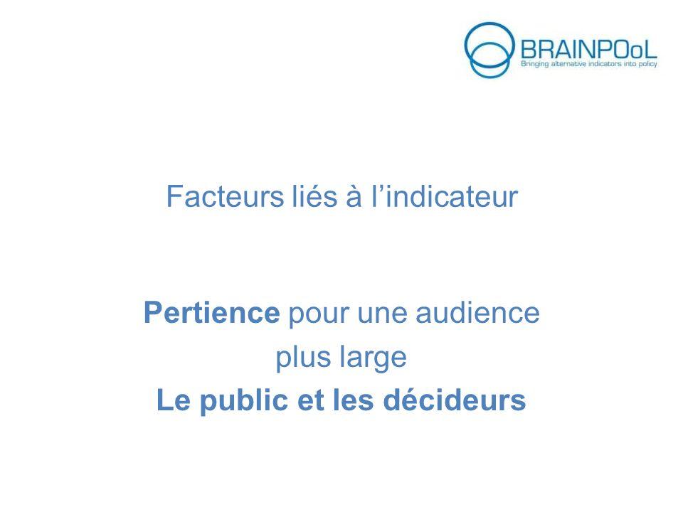 Facteurs liés à lindicateur Pertience pour une audience plus large Le public et les décideurs aenimation