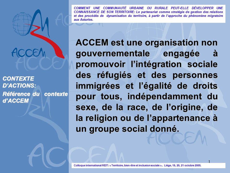 1 ACCEM est une organisation non gouvernementale engagée à promouvoir lintégration sociale des réfugiés et des personnes immigrées et légalité de droi