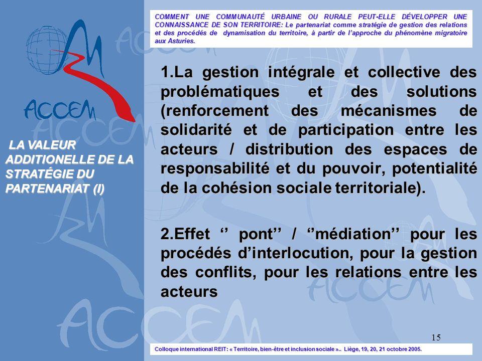 15 1.La gestion intégrale et collective des problématiques et des solutions (renforcement des mécanismes de solidarité et de participation entre les a