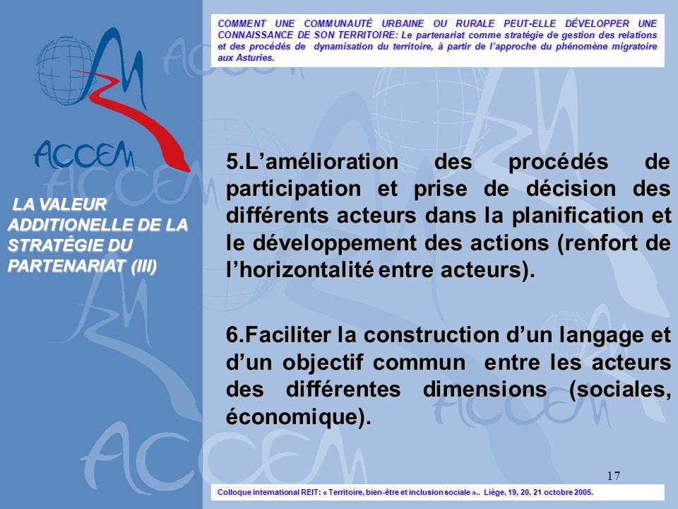 17 5.Lamélioration des procédés de participation et prise de décision des différents acteurs dans la planification et le développement des actions (re