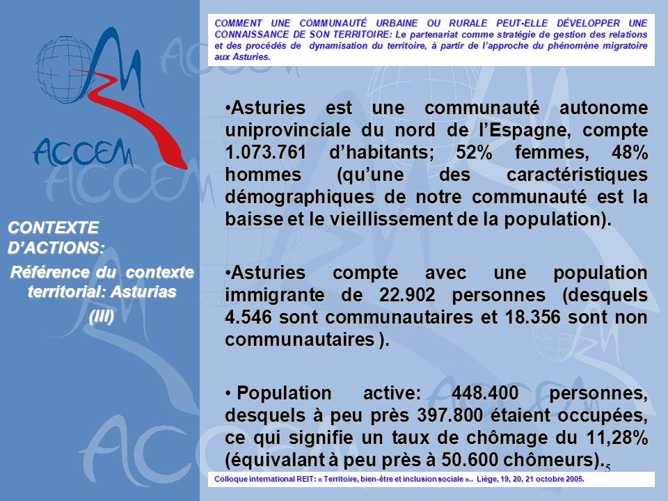 5 Asturies est une communauté autonome uniprovinciale du nord de lEspagne, compte 1.073.761 dhabitants; 52% femmes, 48% hommes (quune des caractéristi