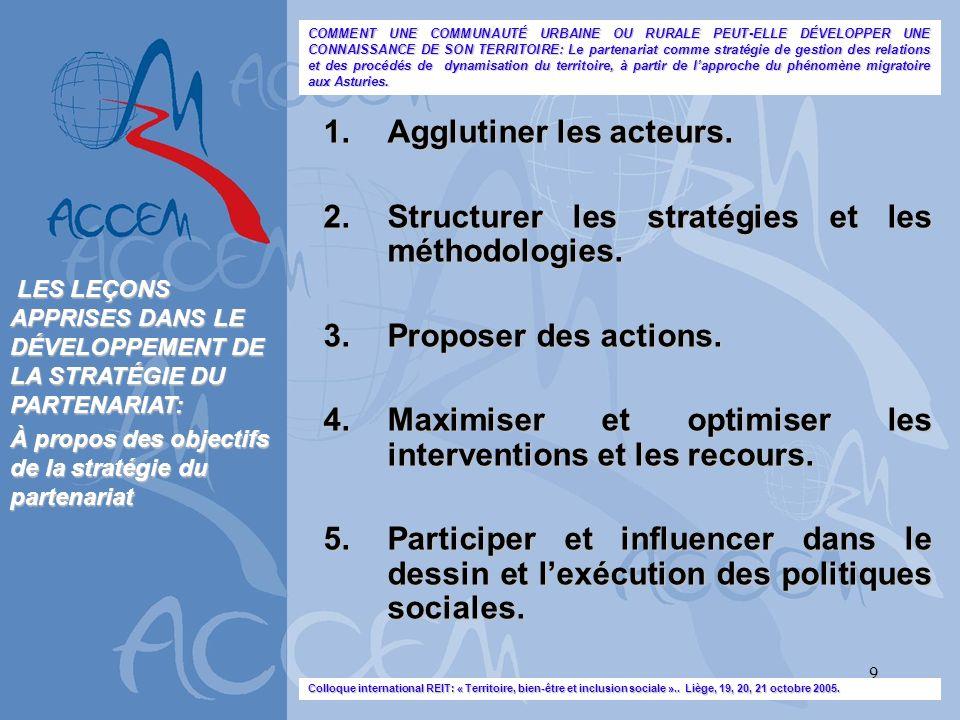9 1.Agglutiner les acteurs. 2.Structurer les stratégies et les méthodologies. 3.Proposer des actions. 4.Maximiser et optimiser les interventions et le