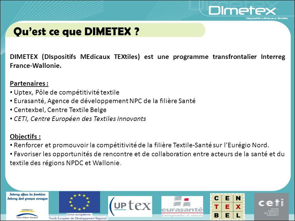 DIMETEX (DIspositifs MEdicaux TEXtiles) est une programme transfrontalier Interreg France-Wallonie. Partenaires : Uptex, Pôle de compétitivité textile