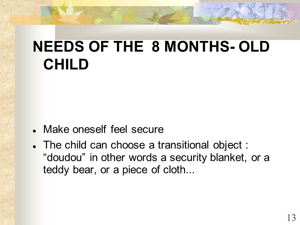 13 NEEDS OF THE 8 MONTHS- OLD CHILD Make oneself feel secure The child can choose a transitional object : doudou in other words a security blanket, or
