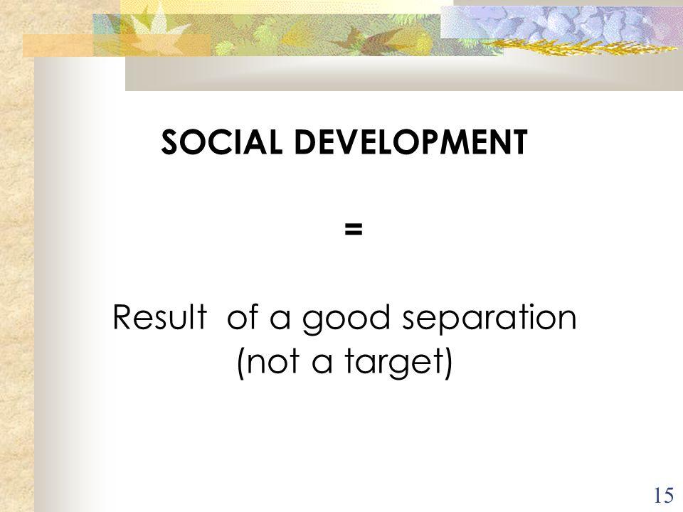 15 SOCIAL DEVELOPMENT = Result of a good separation (not a target) C'est l'intégration dans la société, l'appropriation des pratiques sociales, cultur