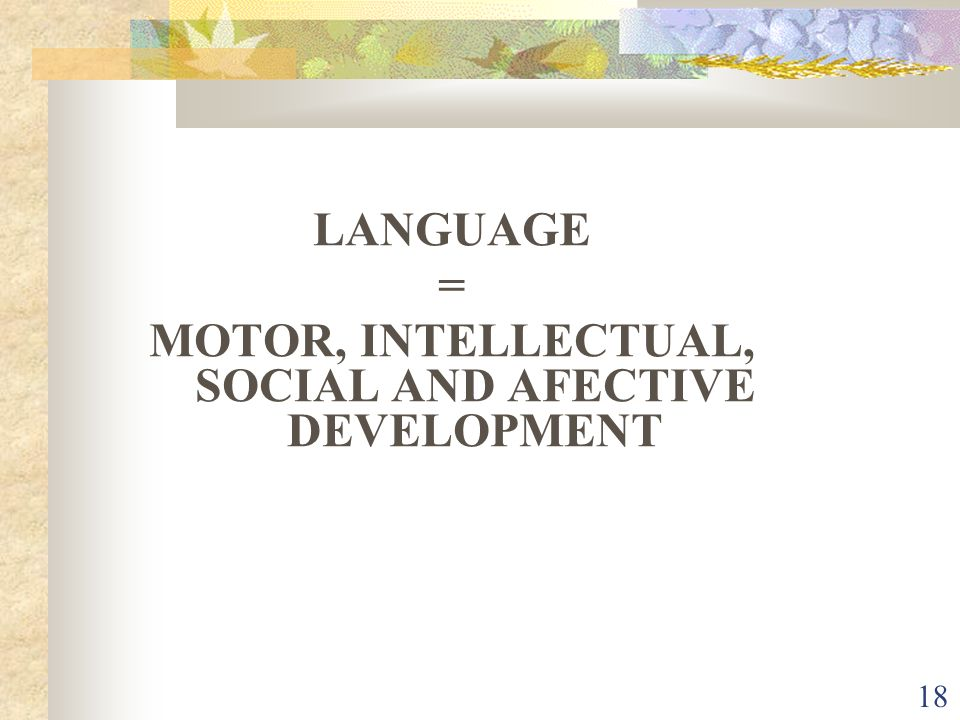 18 LANGUAGE = MOTOR, INTELLECTUAL, SOCIAL AND AFECTIVE DEVELOPMENT