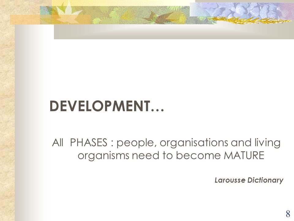 8 DEVELOPMENT… All PHASES : people, organisations and living organisms need to become MATURE Larousse Dictionary
