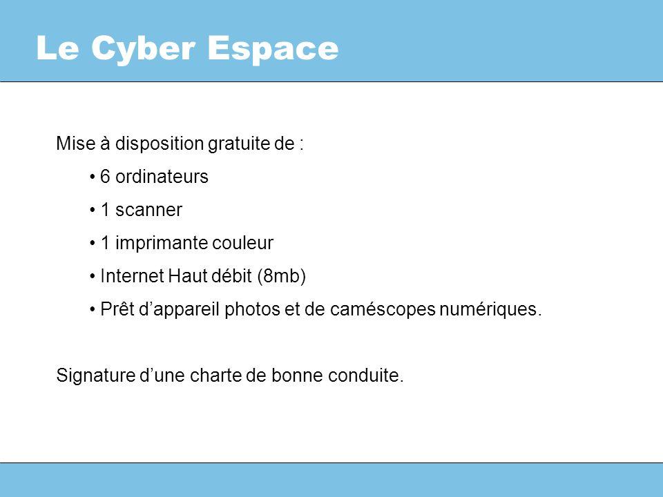 Le Cyber Espace Mise à disposition gratuite de : 6 ordinateurs 1 scanner 1 imprimante couleur Internet Haut débit (8mb) Prêt dappareil photos et de caméscopes numériques.