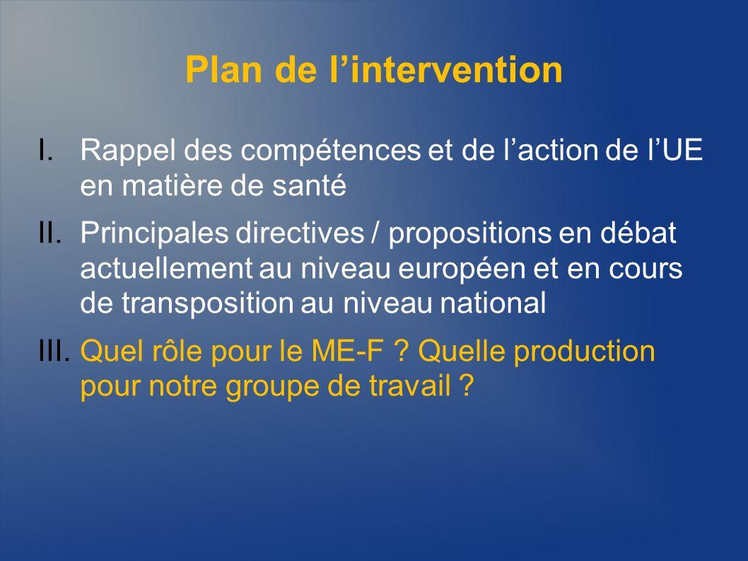 Plan de lintervention I.Rappel des compétences et de laction de lUE en matière de santé II.Principales directives / propositions en débat actuellement