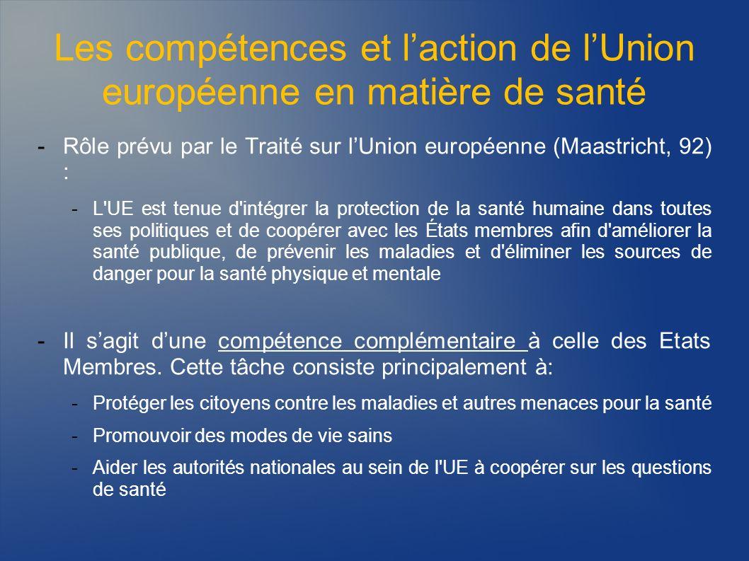 Les compétences et laction de lUnion européenne en matière de santé -La stratégie de l UE visant à protéger et à améliorer la santé humaine est essentiellement mise en œuvre par l intermédiaire des programmes de la Commission en matière de santé -Dans les années 90, l UE a mis en place plusieurs programmes «sectoriels» en matière de santé, sur des thèmes comme le cancer, les maladies transmissibles et la promotion de la santé -Ces programmes se déclinaient sous la forme de huit programmes daction distincts (1993-2002), qui ont financé des projets et des actions dans le domaine de : -la promotion de la santé, du cancer, de la toxicomanie, du SIDA et dautres maladies transmissibles, de la veille sanitaire, des maladies rares, des accidents et des blessures et des maladies liées à la pollution