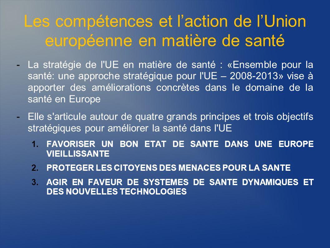 Les compétences et laction de lUnion européenne en matière de santé -La stratégie de l'UE en matière de santé : «Ensemble pour la santé: une approche