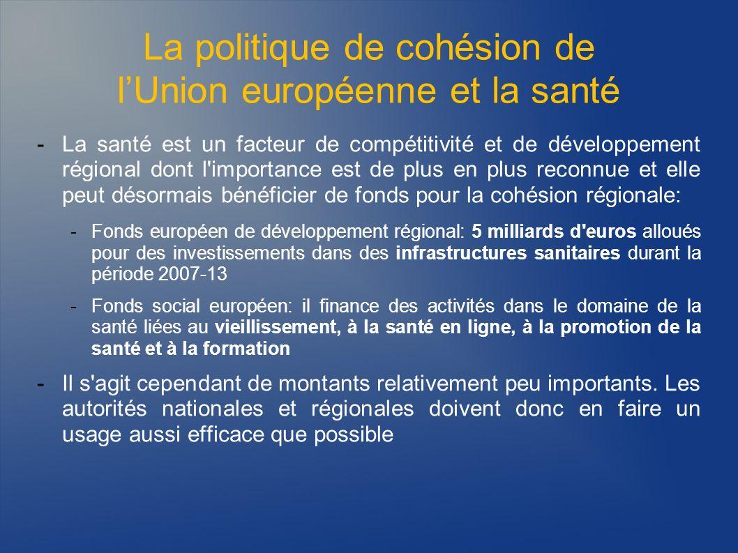 La politique de cohésion de lUnion européenne et la santé -La santé est un facteur de compétitivité et de développement régional dont l'importance est