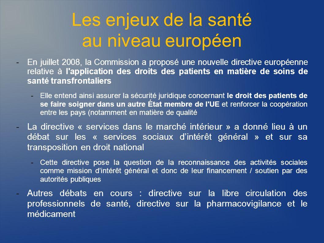 Les enjeux de la santé au niveau européen -En juillet 2008, la Commission a proposé une nouvelle directive européenne relative à l'application des dro