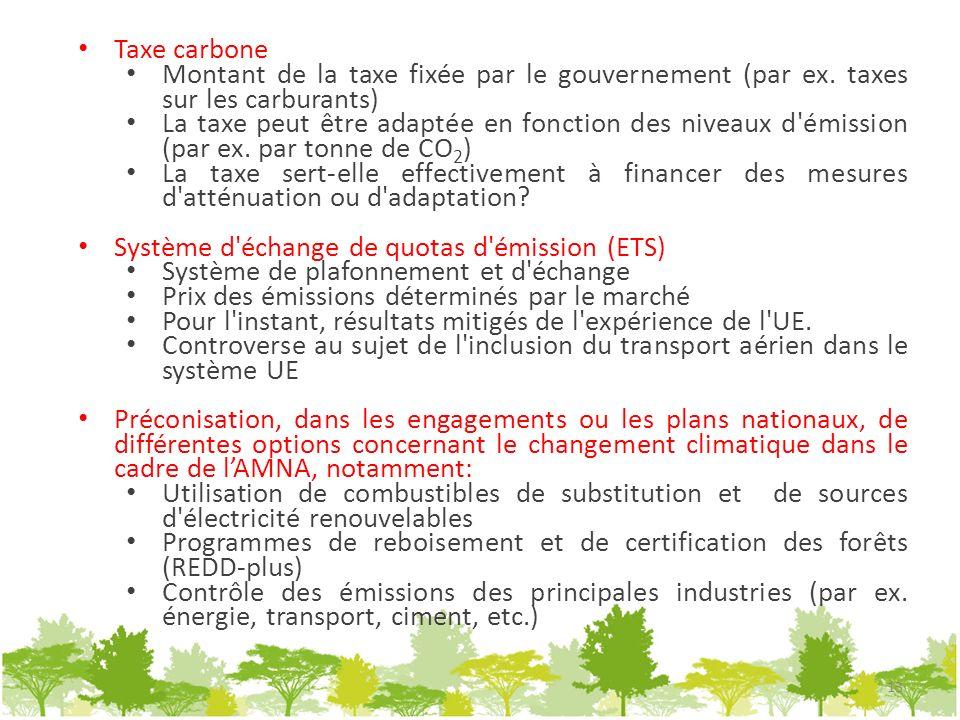 Taxe carbone Montant de la taxe fixée par le gouvernement (par ex. taxes sur les carburants) La taxe peut être adaptée en fonction des niveaux d'émiss