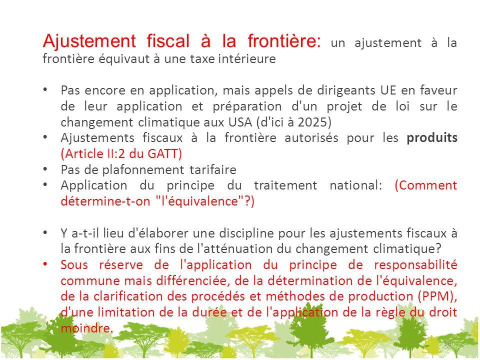 Ajustement fiscal à la frontière: un ajustement à la frontière équivaut à une taxe intérieure Pas encore en application, mais appels de dirigeants UE